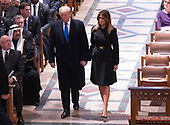 December 5, 2018 - Washington, DC, United States: United States President Donald J. Trump and First Lady Melania Trump attend the state funeral service of former President George W. Bush at the National Cathedral. <br /> Credit: Chris Kleponis / Pool via CNP