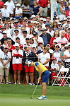 DES MOINES, IA - AUGUST 19: Europe's Catriona Matthew rolls her birdie putt on the 15th hole of their match, Saturday at the 2017 Solheim Cup in Des Moines, IA. (Photo by Dave Eggen/Inertia)