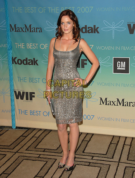 EMILY BLUNT.The Women in Film's 2007 Crystal & Lucy Awards, The Best of The Best of 2007 held at The Beverly Hilton Hotel in Beverly Hills, California, USA..June 14th, 2007.full length grey gray silver sequins sequined dress clutch purse black shoes necklace bracelet hand on hip.CAP/DVS.©Debbie VanStory/Capital Pictures