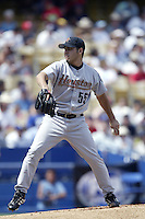 Carlos Hernandez of the Houston Astros pitches during a 2002 MLB season game against the Los Angeles Dodgers at Dodger Stadium, in Los Angeles, California. (Larry Goren/Four Seam Images)