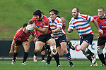 DJ Forbes makes a break upfield during the Air New Zealand Air NZ Cup warm-up rugby game between the Counties Manukau Steelers & Tasman Mako's, played at Growers Stadium Pukekohe on Sunday July 20th 2008..Counties Manukau won the match 30 - 7.