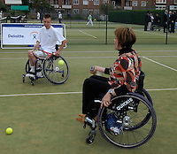 Queens Club, GREAT BRITAIN,   Wheel chair Tennis, Andrew LAPTHORNE and Dame Tanni GREY-THOMPSON, before the  press Conference to announce the joint initiative between British Paralympic Association and Deloitte  of 'www.Parasport.org.uk' online information service, on Thur's.  03.05.2007. London. [Credit: Peter Spurrier/Intersport Images]
