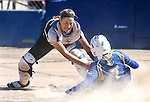 Western Nevada's Bailey Henderson tags Salt Lakes' Cheyenne Pratt out at the plate at Edmonds Sports Complex in Carson City, Nev., on Friday, April 15, 2016. <br />Photo by Cathleen Allison/Nevada Photo Source