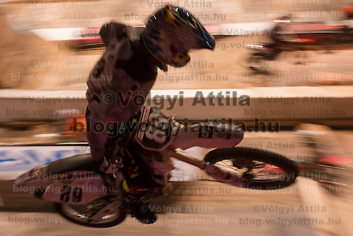 Peter Herner from Hungary competes during the Indoor Super Moto-Cross race in Budapest, Hungary on February 4, 2012. ATTILA VOLGYI