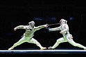 (L to R) Kenta Tokunan (JPN), Vincent Anstett (FRA), AUGUST 10, 2016 - Fencing : Men's Sabre Individual Round of 32 at Carioca Arena 3 during the Rio 2016 Olympic Games in Rio de Janeiro, Brazil. <br /> (Photo by Koji Aoki/AFLO SPORT)