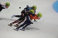 SHORTTRACK: DORDRECHT: Sportboulevard Dordrecht, 24-01-2015, ISU EK Shorttrack, Ekaterina KONSTANTINOVA (RUS | #146), Katrin MANOILOVA (BUL | #108), Lara VAN RUIJVEN (NED | #139), ©foto Martin de Jong