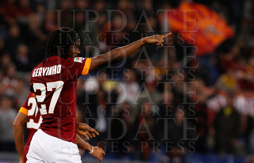Calcio, Serie A: Roma vs Inter. Roma, stadio Olimpico, 30 novembre 2014.<br /> Roma&rsquo;s Gervinho celebrates after scoring during the Italian Serie A football match between AS Roma and FC Inter at Rome's Olympic stadium, 30 November 2014.<br /> UPDATE IMAGES PRESS/Riccardo De Luca