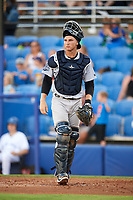 Tampa Tarpons catcher Kellin Deglan (25) during a game against the Dunedin Blue Jays on June 2, 2018 at Dunedin Stadium in Dunedin, Florida.  Dunedin defeated Tampa 4-0.  (Mike Janes/Four Seam Images)