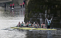 Mortlake/Chiswick, GREATER LONDON. United Kingdom. 2017 Women's Boat Race winners CUWBC, celebrate, after crossing the and winning the race. The Championship Course, Putney to Mortlake on the River Thames.<br /> <br /> Crew:Bow: Ashton Brown &ndash; CAN/AUS, 2: Imogen Grant, 3: Claire Lambe &ndash; IRL, 4: Anna Dawson, 5: Holly Hill, 6: Alice White, 7: Myriam Goudet &ndash; FRA, Stroke: Melissa Wilson and Cox: Matthew Holland Coach, Rob BAKER<br /> <br /> <br /> Sunday  02/04/2017<br /> <br /> [Mandatory Credit; Peter SPURRIER/Intersport Images]