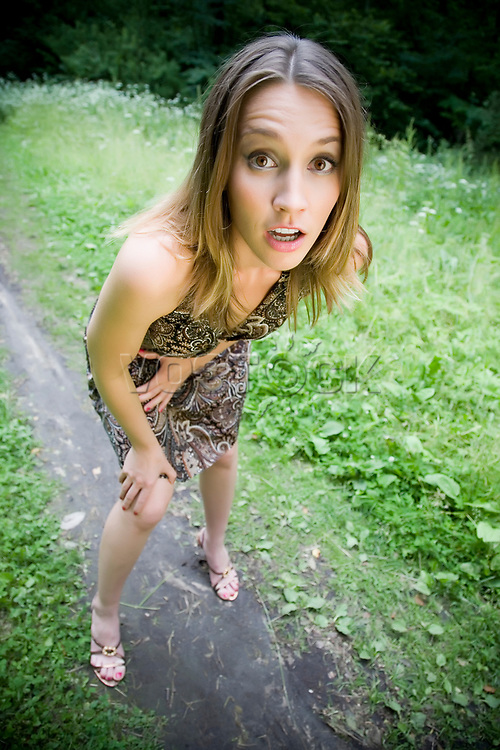 Shocked And Surprised Girl Outdoors