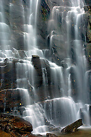 The Chimney Rock waterfall in autumn in the North Carolina mountains.