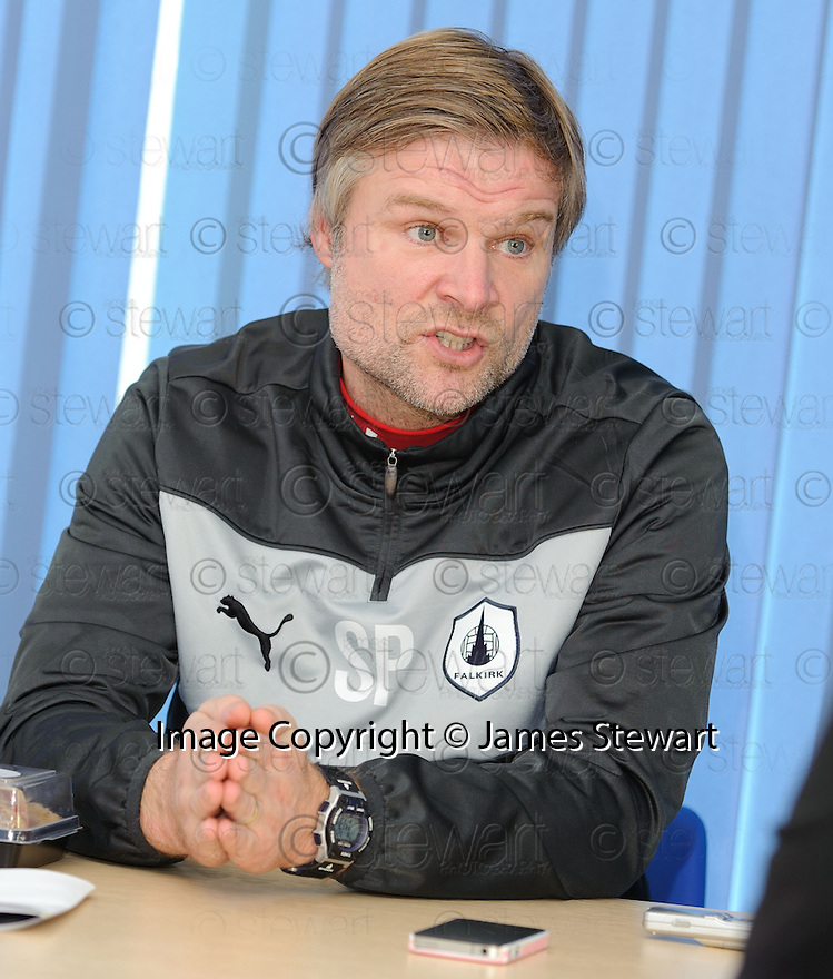 Falkirk manager Steven Pressley at today's press conference at Stirling University  ...