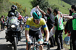 Race leader Max Schachmann (GER) Bora-Hansgrohe on the Ixua a brutal 20% off road climb during Stage 5 of the Tour of the Basque Country 2019 running 149.8km from Arrigorriaga to Arrate, Spain. 12th April 2019.<br /> Picture: Colin Flockton | Cyclefile<br /> <br /> <br /> All photos usage must carry mandatory copyright credit (&copy; Cyclefile | Colin Flockton)