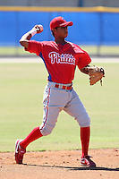 Philadelphia Phillies minor league shortstop Edgar Duran vs. the Toronto Blue Jays in an Instructional League game at Englebert Minor League Complex in Dunedin, Florida;  October 7, 2010.  Photo By Mike Janes/Four Seam Images