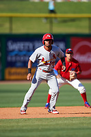 Palm Beach Cardinals shortstop Edmundo Sosa (3) leads off second base during the first game of a doubleheader against the Clearwater Threshers on April 13, 2017 at Spectrum Field in Clearwater, Florida.  Clearwater defeated Palm Beach 1-0.  (Mike Janes/Four Seam Images)