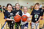 Lauren Lawlor, Sophie Quillinan, Mary Gardiner and Billy Naughton enjoying the Be a Star' basketball camp in the John Mitchels Complex on Tuesday.