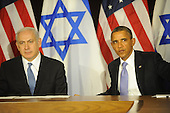 United States President Barack Obama, right, and Prime Minister Benjamin Netanyahu of Israel, left, following their statements to the pool prior to meeting, Wednesday, Sept. 21, 2011 at United Nations Headquarters in New York, New York..Credit: Aaron Showalter / Pool via CNP
