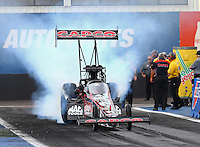 Feb 20, 2015; Chandler, AZ, USA; NHRA top fuel driver Steve Torrence during qualifying for the Carquest Nationals at Wild Horse Pass Motorsports Park. Mandatory Credit: Mark J. Rebilas-