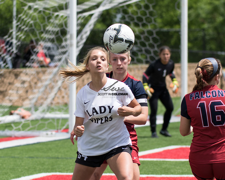 Vandegrift Vipers sophomore midfielder Stormy Meier (24) in action during the Class 6A UIL girls soccer state semifinal game between the Vandegrift Vipers and the Katy Tompkins Falcons at Birkelbach Field in Georgetown, Texas, on April 14, 2017. Tompkins won 3-1.