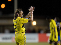 10 May 2008: Frankie Hejduk of the Crew applauds to Crew's fans after the winning the game against the Earthquakes at Buck Shaw Stadium in San Jose, California.   Columbus Crew defeated San Jose Earthquakes, 3-2.