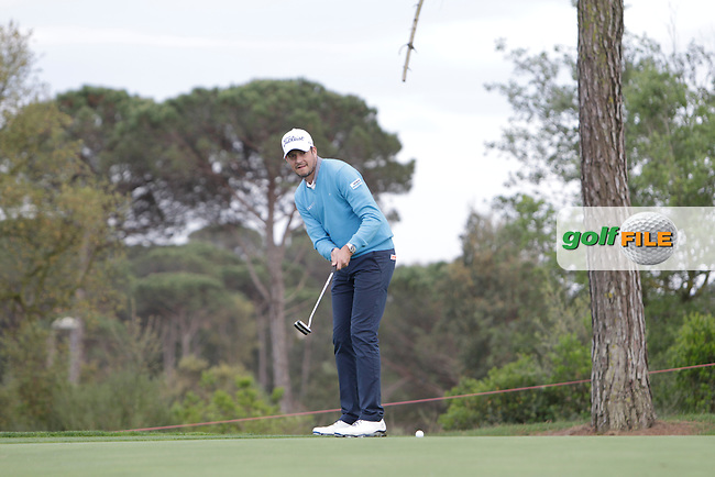 Simon Thornton (IRL) on the 16th during Practice Day of The Open De Espana at The PGA Catalunya Resort on Tuesday 13th May 2014.<br /> Picture:  Thos Caffrey / www.golffile.ie