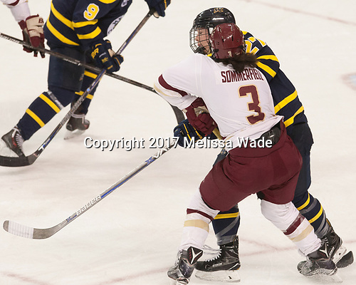 Serena Sommerfield (BC - 3), Allison Sexton (Merrimack - 27) - The number one seeded Boston College Eagles defeated the eight seeded Merrimack College Warriors 1-0 to sweep their Hockey East quarterfinal series on Friday, February 24, 2017, at Kelley Rink in Conte Forum in Chestnut Hill, Massachusetts.The number one seeded Boston College Eagles defeated the eight seeded Merrimack College Warriors 1-0 to sweep their Hockey East quarterfinal series on Friday, February 24, 2017, at Kelley Rink in Conte Forum in Chestnut Hill, Massachusetts.