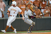 Texas Longhorn first baseman Tant Shepherd scores ahead of the throw against the Arizona State Sun Devils  in NCAA Tournament Super Regional Game #3 on June 12, 2011 at Disch Falk Field in Austin, Texas. (Photo by Andrew Woolley / Four Seam Images)