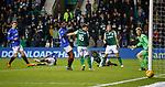19.12.2018 Hibs v Rangers: Alfredo Morelos pulls his shot wide