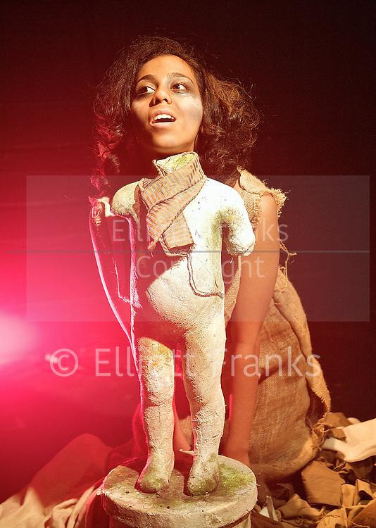 Golgotha<br /> by Nirjay Mahindru <br /> directed by Iqbal Khan <br /> at The Tristan Bates Theatre, London, Great Britain <br /> press photocall<br /> 14th november 2012 <br /> <br /> Anjana Vasan as Loretta<br /> Raj Ghatak as Kalil<br /> <br /> <br /> Photograph by Elliott Franks