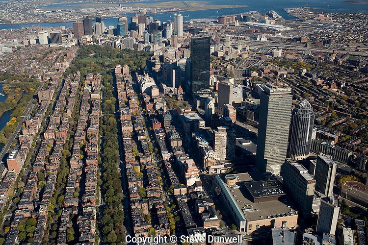 Back Bay, aerial view, 1500 ft, Boston, MA