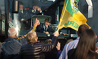 18-1-2017: Four goal hero, Team Captain and Man of the Match, David Clifford from Fossa Killarney with the Tommy Markem Cup as the Kerry Minor Team team bus pulls into  Fitzgerald Stadium Killarney to receive a hero's welcome at the homecoming on Monday evening.<br /> Photo: Don MacMonagle