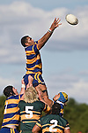 Alepini Olosoni takes uncontested lineout ball. CMRFU Counties Power Premier Club Rugby game between Patumahoe & Pukekohe played at Patumahoe on April 12th, 2008..The halftime score was 10 all with Pukekohe going on to win 23 - 18.