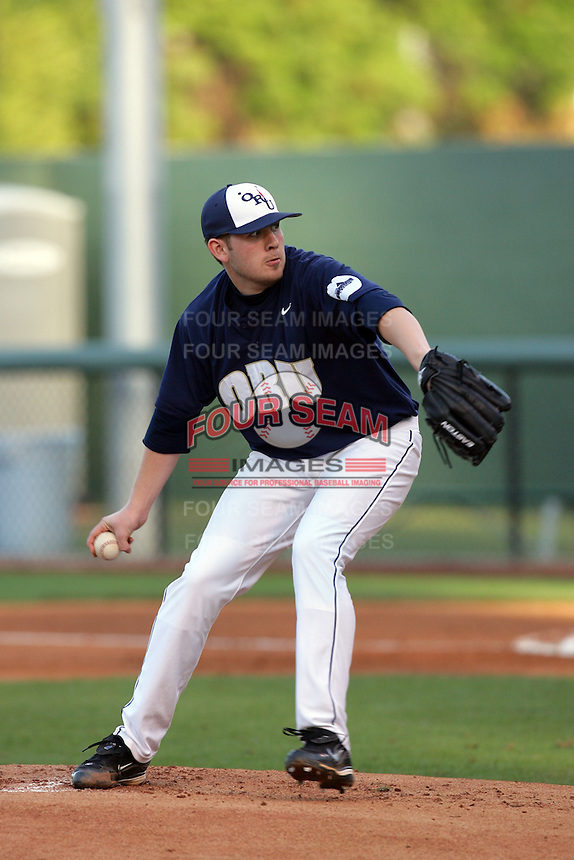 March 19, 2010: Drew Bowen (33) of Oral Roberts pitches against UCLA at UCLA in Los Angeles,CA.  Photo by Larry Goren/Four Seam Images