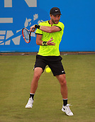 June 12th 2017,  Nottingham, England; WTA Aegon Nottingham Open Tennis Tournament day 3; Qualifier Liam Broady of the UK smashes a forehand back during his match versus 8th seed Illya Marchenko of the Ukraine