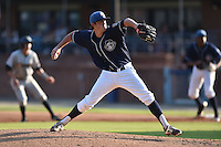 Asheville Tourists starting pitcher Zach Jemiola #27 delivers a pitch during a game against the Charleston RiverDogs at McCormick Field July 26, 2014 in Asheville, North Carolina. The RiverDogs defeated the Tourists 8-7. (Tony Farlow/Four Seam Images)