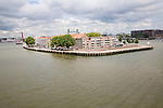 Residential island of housing in River Maas, Rotterdam, South Holland, Netherlands