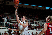 STANFORD, CA--Toni Kokenis makes two points during PAC-12 conference play against Utah  at Maples Pavilion. The Cardinal won the matchup against the Utes 69-42.