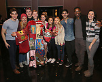 "Kyle Selig, Kate Rockwell, Grey Henson, Brendon Stimson, Taylor Louderman, Ashley Parker, Kerry Butler, Cheech Manohar, Rick Younger and Barrett Wilbert Weed during the Actors' Equity Opening Night Gypsy Robe Ceremony honoring Brendon Stimson for ""Mean Girls"" at the August Wilson Theatre Theatre on April 8, 2018 in New York City."