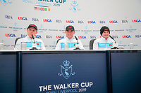 Conor Purcell  (GB&I) Alex Fitzpatrick (GB&I) Sandy Scott (GB&I) during the press conference at the Walker Cup, Royal Liverpool Golf CLub, Hoylake, Cheshire, England. 06/09/2019.<br /> Picture Fran Caffrey / Golffile.ie<br /> <br /> All photo usage must carry mandatory copyright credit (© Golffile | Fran Caffrey)