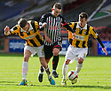 Pars' Ryan Wallace tries to get past East Fife's Lewis Barr and Stephen O'Neill.