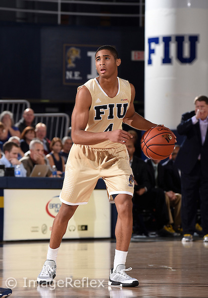Florida International University guard Kimar Williams (4) plays against the Old Dominion University, which won the game 64-60 on January 30, 2016 at Miami, Florida.