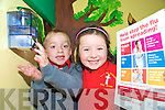 Holy Cross Mery school junior infants, Keelan O'Leary and her uncle Jack O'Connell,  use the gel to prevent swine flu entering the school............
