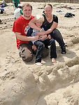 Alex, Caspers and Daniel Milenbergs who took part in the annual sandcastle competition on Bettystown beach. hoto: Colin Bell/pressphotos.ie