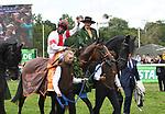 03.07.2019,  GER;  Idee 150. Deutsches Derby 2019, im Bild Sieger Laccario mit Reiter Eduardo Pedroza jubelt nach dem Zeileinlauf Foto © nordphoto / Witke *** Local Caption ***
