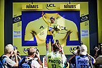 Race leader Julian Alaphilippe (FRA) Deceuninck-Quick Step retains the Yellow Jersey at the end of Stage 16 of the 2019 Tour de France running 177km from Nimes to Nimes, France. 23rd July 2019.<br /> Picture: ASO/Pauline Ballet | Cyclefile<br /> All photos usage must carry mandatory copyright credit (© Cyclefile | ASO/Pauline Ballet)