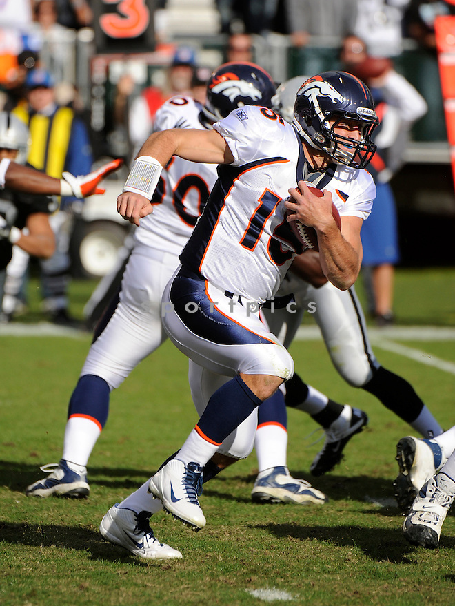 TIM TEBOW, of the Denver Broncos, in action during the Broncos game against the Oakland Raiders on November 6, 2011 at O.co Coliseum in Oakland, CA. Denver beat Oakland 38-24.