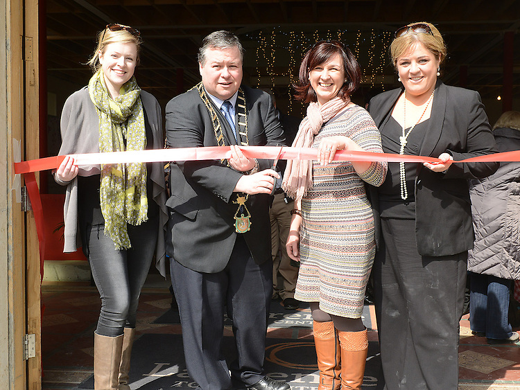 Mayor of Drogheda Paul Bell cut the ribbon to officially open the Old Schoolhouse market on Laurence street with Ciara Nixon marketing Manager for the Laurence Centre, Susan Drumm Manager of Laurence Centre and Lorraine Murphy Market organizer. Photo:Colin Bell/pressphotos.ie