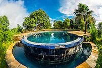 Swimming pool, Tiger Mountain Pokhara Lodge, above the Pokhara Valley, Nepal.
