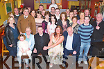 Engagement: Celebrating their engagement in Kirbys Brogue Inn, Tralee, on Friday evening were Sean McLarnon of Ballinorig West, Tralee, and Mairead OSullivan of Ballyhar, Killarney, along with family and friends..