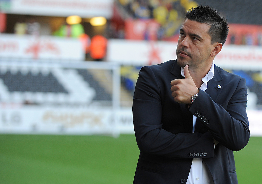 Petrolul Ploiesti's Manager Cosmin Contra prior to kick off<br /> <br /> (Photo by Ian Cook/CameraSport)<br /> <br /> Football - UEFA Europa League Qualifying Play-off First leg - Swansea City v Petrolul Ploiesti - Thursday 22nd August 2013 - The Liberty Stadium - Swansea<br /> <br /> &copy; CameraSport - 43 Linden Ave. Countesthorpe. Leicester. England. LE8 5PG - Tel: +44 (0) 116 277 4147 - admin@camerasport.com - www.camerasport.com